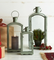 Rounded Gray Metal and Glass Lanterns, Set of 3