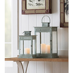 Gray Square Metal and Glass Lanterns, Set of 2
