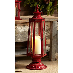 Red Metal and Glass Geometric Lantern