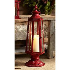 Red Metal and Glass Geometric Lantern