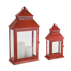 Red Metal Rectangular Lanterns, Set of 2