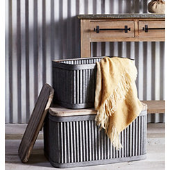 Metal Storage Bins with Wood Lids, Set of 2