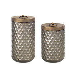 Gray and Gold Metal Canisters, Set of 2