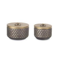 Short Gray and Gold Metal Canisters, Set of 2