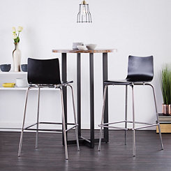 Holly and Martin Black Bar Stools, Set of 2
