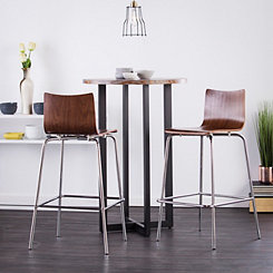 Holly and Martin Walnut Bar Stools, Set of 2