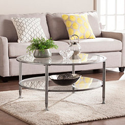 Mara Glass and Silver Metal Round Coffee Table