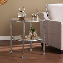 Mara Glass and Silver Metal Round Accent Table