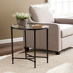 Lila Glass and Black Metal Oval Accent Table