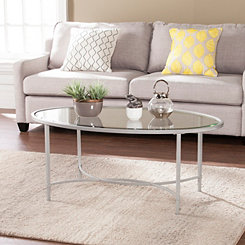 Lila Glass and Silver Metal Oval Coffee Table