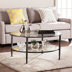 Mara Glass and Black Metal Round Coffee Table