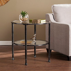 Mara Glass and Black Metal Round Accent Table