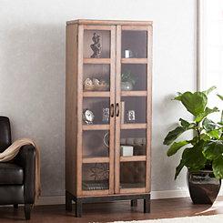 Jaci Pecan Wood Curio Cabinet