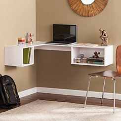 Hallie White Floating Corner Desk