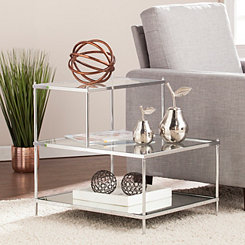 Phoebe Stair Step Mirrored Accent Table