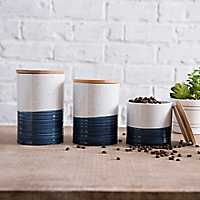 Navy Speckled Ceramic Canisters, Set of 3
