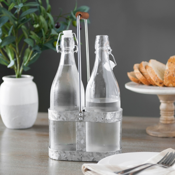 hinge top bottles with galvanized caddy set of 3 kitchen accessories   kirklands  rh   kirklands com
