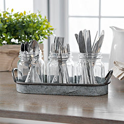 Mason Jar Caddy with Ribbed Tray