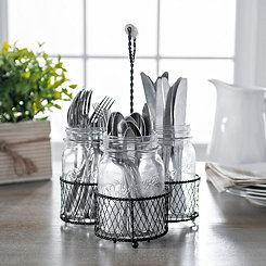 Mason Jar and Chicken Wire Utensil Caddy