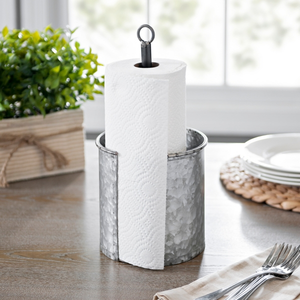 Beau Galvanized Metal Paper Towel Holder