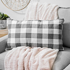 Gray and White Buffalo Check Accent Pillow