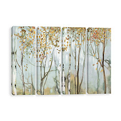 Birch in the Fog Canvas Art Prints, Set of 4