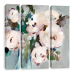 Pale Pink Bouquet Canvas Art Prints, Set of 3