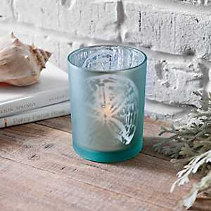 Blue Glass Sand Dollar Votive Holder