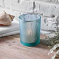 Blue Glass Seashell Votive Holder
