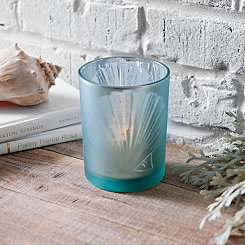 Blue Glass Seashell Votive Holder