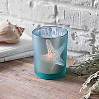 Blue Glass Starfish Votive Holder