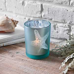 Blue Glass Starfish Votive Holder