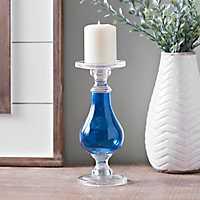 Cobalt Glass Candlestick, 10 in.