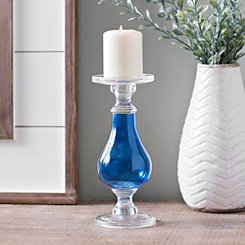 Cobalt Glass Candlestick, 10 in.