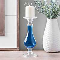 Cobalt Glass Candlestick, 12 in.