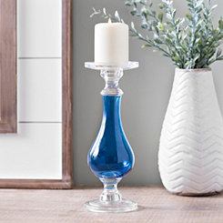 Cobalt Glass Candlestick, 12 in.
