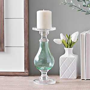 Aqua Glass Candlestick, 10 in.