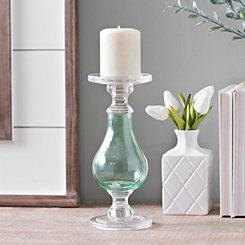 Aqua Glass Candlestick, 10 in.