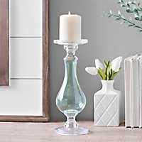 Aqua Glass Candlestick, 12 in.