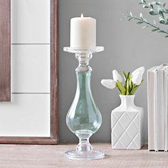 Aqua Glass Candlestick, 12 in.