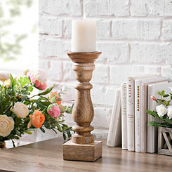 Mango Wood Candlestick, 14 in.