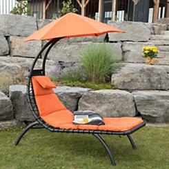 Orange Zest Dream Lounger with Umbrella