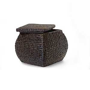 Brown Havana Weave Square Storage Ottoman