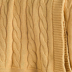 Yellow Classic Cable Knit Stitch Throw Blanket