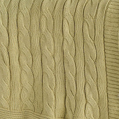 Sage Green Classic Cable Knit Stitch Throw Blanket