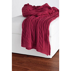 Burgundy Classic Cable Knit Stitch Throw Blanket