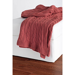 Rust Red Classic Cable Knit Stitch Throw Blanket