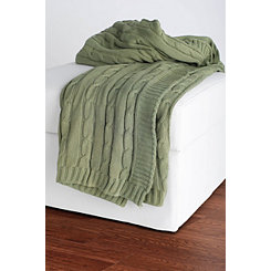 Olive Classic Cable Knit Stitch Throw Blanket