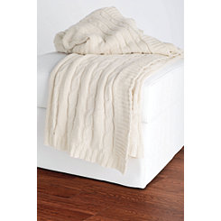 Ivory Classic Cable Knit Stitch Throw Blanket