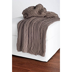 Mocha Classic Cable Knit Stitch Throw Blanket
